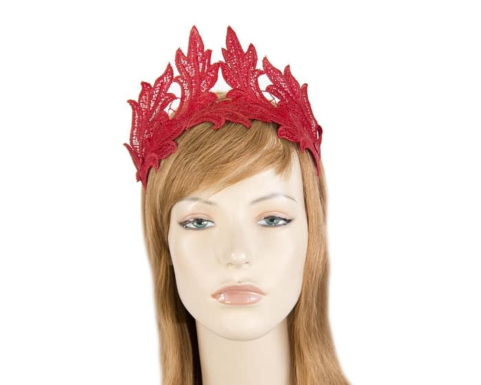 Fascinators Online - Red lace crown fascinator by Max Alexander 1