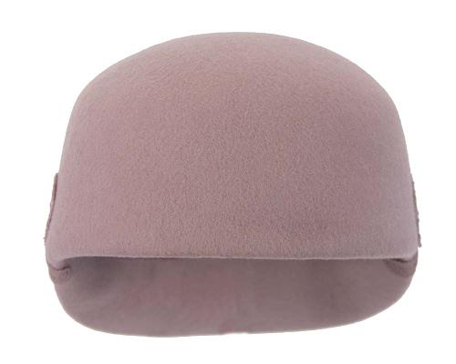 Fascinators Online - Dusty pink felt ladies cap with lace 4