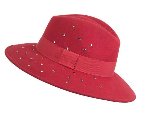 Fascinators Online - Wide brim red felt fedora hat by Max Alexander 2