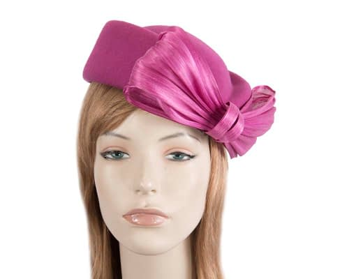 Fascinators Online - Fuchsia felt ladies fashion beret hat with bow by Fillies Collection 2