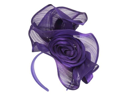 Fascinators Online - Purple sculptured silk abaca fascinator by Fillies Collection 2