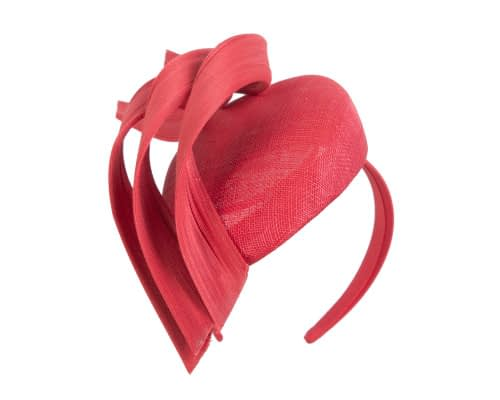 Fascinators Online - Red pillbox racing fascinator with jinsin trim by Fillies Collection 2