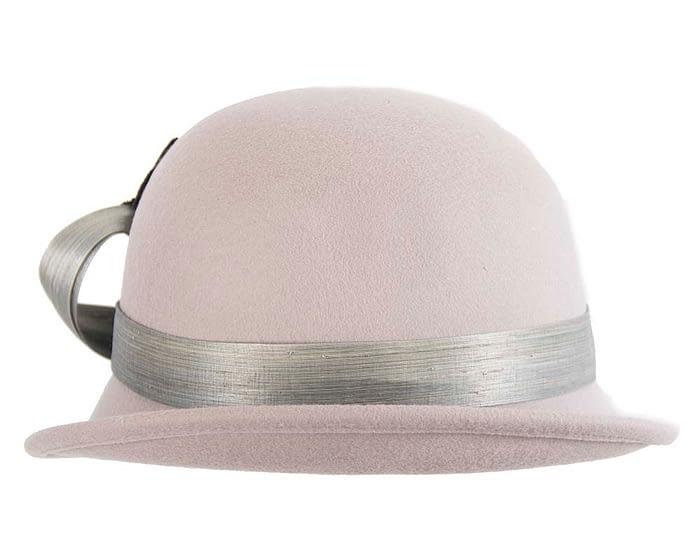 Fascinators Online - Grey autumn & winter fashion felt cloche hat by Fillies Collection 3