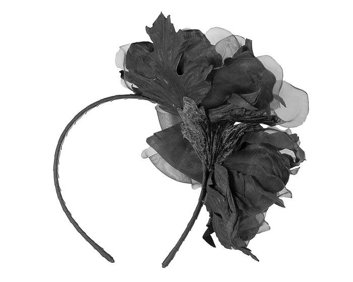 Fascinators Online - Black Silk Flower Fascinator by Fillies Collection 4