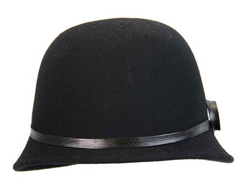 Fascinators Online - Black felt cloche hat by Max Alexander 4