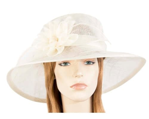 Fascinators Online - Wide brim cream sinamay fashion hat by Max Alexander 31