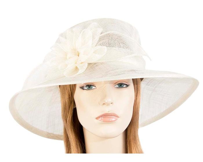 Fascinators Online - Wide brim cream sinamay fashion hat by Max Alexander 1