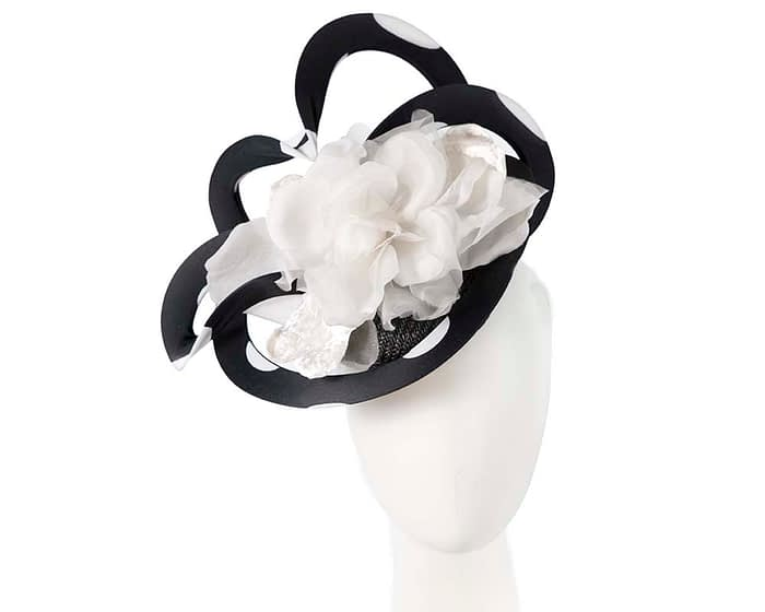 Fascinators Online - Large designers black and ivory fascinator by Fillies Collection 1