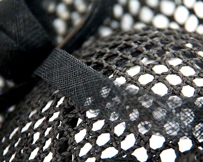 Fascinators Online - Large black mesh plate fascinator by Max Alexander 3