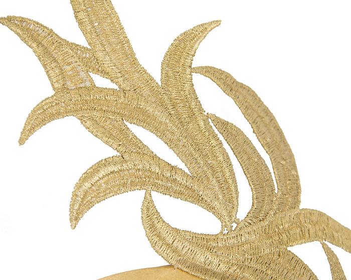 Fascinators Online - Gold lace crown fascinator by Max Alexander 3