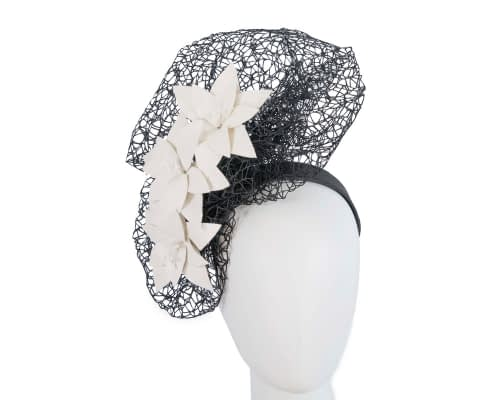 Fascinators Online - Black & cream designers racing fascinator by Fillies Collection 1
