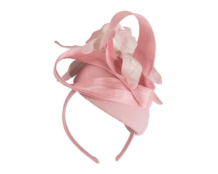 Fascinators Online - Tall pink felt pillbox with flower by Fillies Collection 5