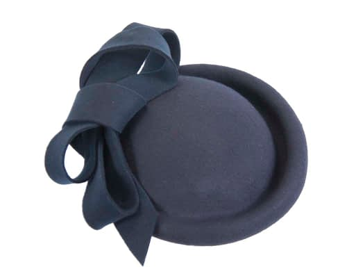 Fascinators Online - Large navy felt fascinator hat by Fillies Collection 5