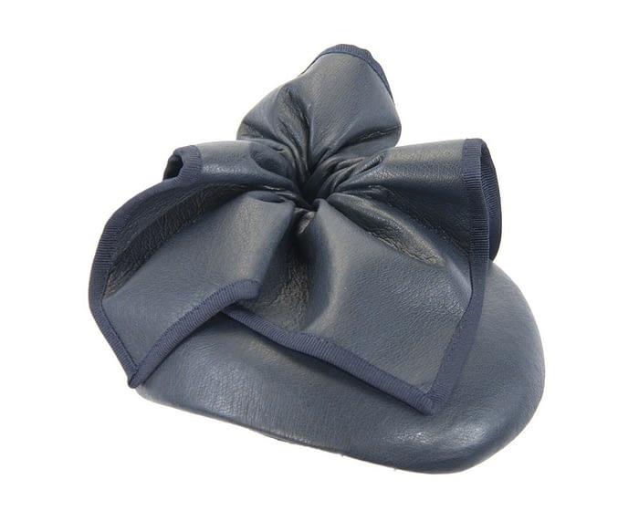 Fascinators Online - Navy leather pillbox fascinator by Max Alexander 2