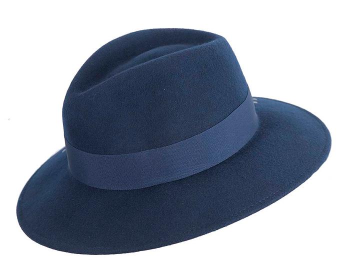 Fascinators Online - Wide brim navy felt fedora hat by Max Alexander 3