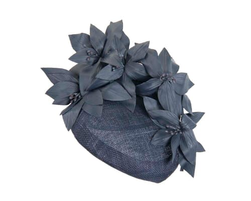 Fascinators Online - Navy leather flower pillbox fascinator by Fillies Collection 2