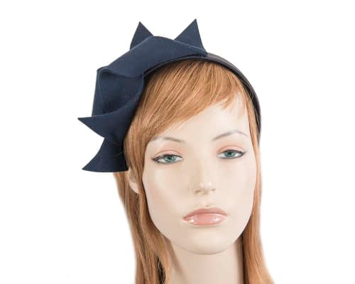 Fascinators Online - Navy felt twisted fascinator by Max Alexander 81