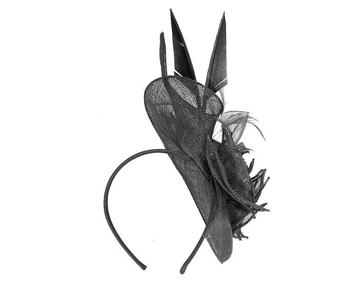 Fascinators Online - Black racing fascinator with feathers by Max Alexander 4