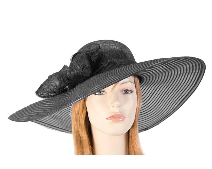 Fascinators Online - Wide brim black fashion hat by Max Alexander 1