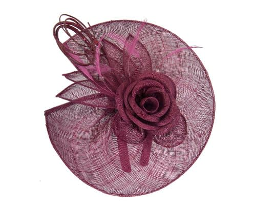 Fascinators Online - Large burgundy wine sinamay racing fascinator with feathers by Max Alexander 3
