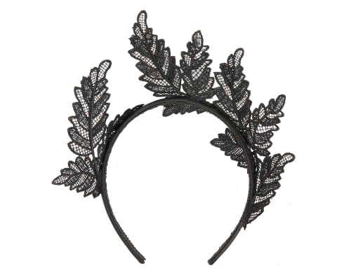 Fascinators Online - Black lace crown racing fascinator by Max Alexander 4