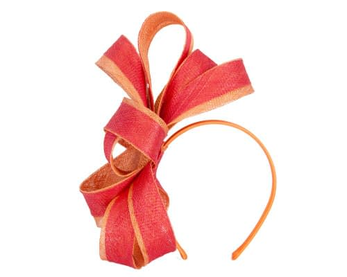 Fascinators Online - Red & orange loops of sinamay racing fascinator by Max Alexander 2