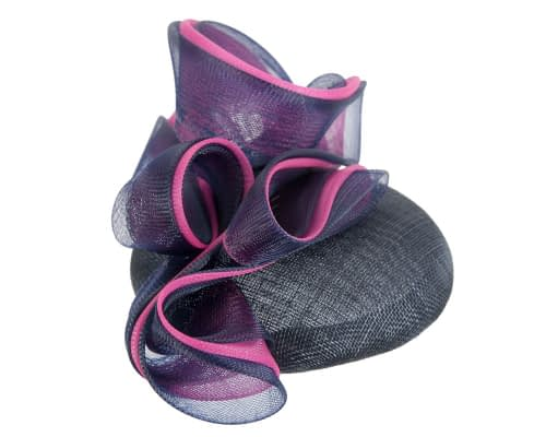Fascinators Online - Navy & fuchsia pillbox racing fascinator with wave by Fillies Collection 4