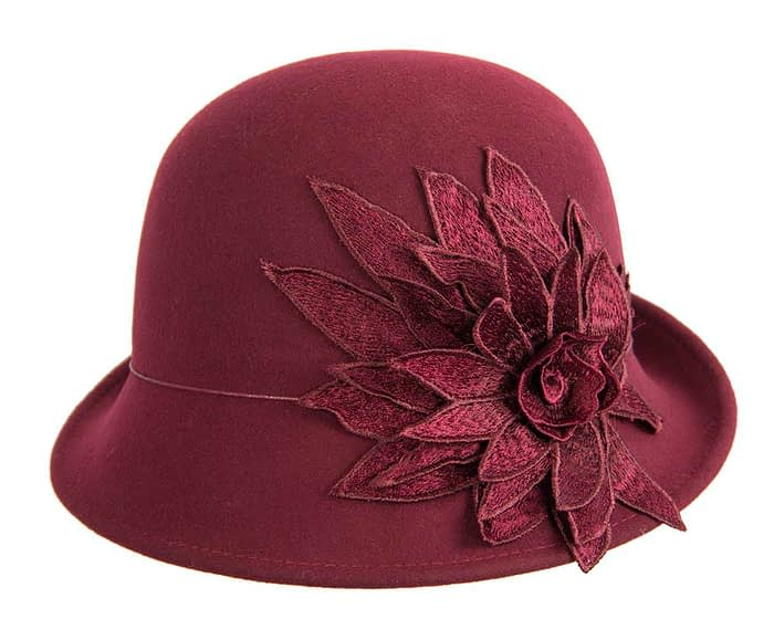 Fascinators Online - Burgundy felt cloche hat with lace by Max Alexander 4