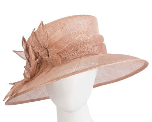 Fascinators Online - Large traditional nude racing hat by Max Alexander 44
