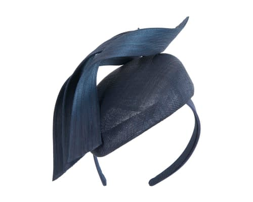 Fascinators Online - Navy pillbox racing fascinator with jinsin trim by Fillies Collection 2