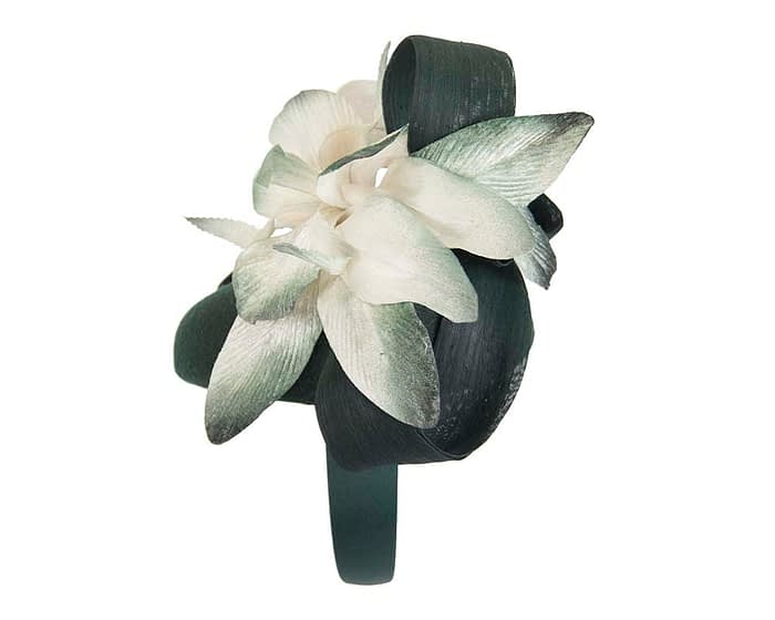 Fascinators Online - Tall green felt pillbox with cream flower by Fillies Collection 4