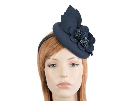 Fascinators Online - Navy felt winter pillbox fascinator by Max Alexander 67