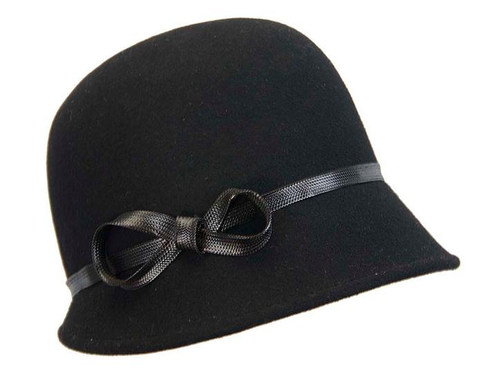 Fascinators Online - Black felt cloche hat by Max Alexander 2