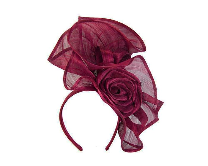 Fascinators Online - Wine sculptured silk abaca fascinator by Fillies Collection 2