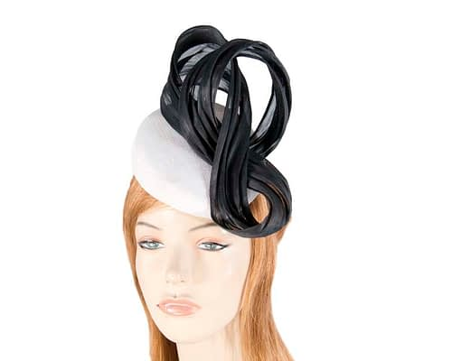 Fascinators Online - White pillbox with black bow by Fillies Collection 1