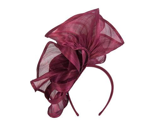 Fascinators Online - Wine sculptured silk abaca fascinator by Fillies Collection 4