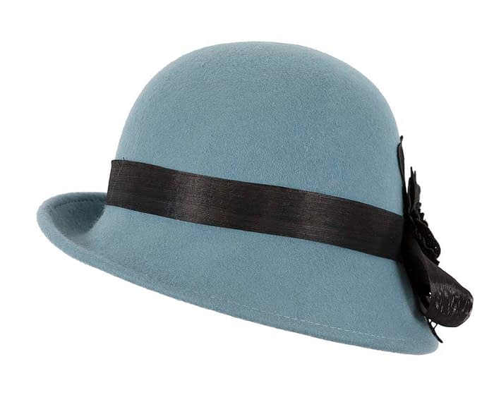 Fascinators Online - Exclusive blue felt cloche hat with lace by Fillies Collection 6