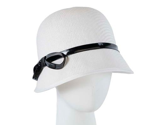 Fascinators Online - White racing cloche bucket hat 6