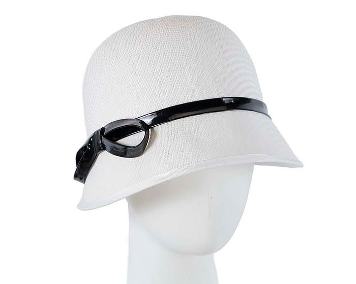 Fascinators Online - White racing cloche bucket hat 1