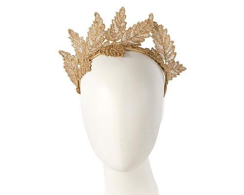 Fascinators Online - Gold lace crown racing fascinator by Max Alexander 5