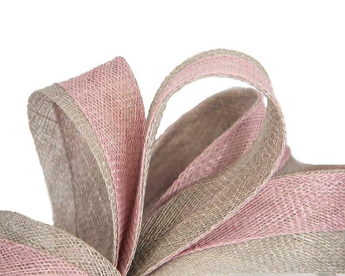 Fascinators Online - Pink & silver loops of sinamay racing fascinator by Max Alexander 3