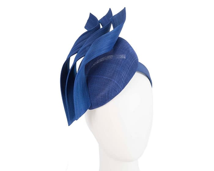 Fascinators Online - Royal blue pillbox racing fascinator with jinsin trim by Fillies Collection 1