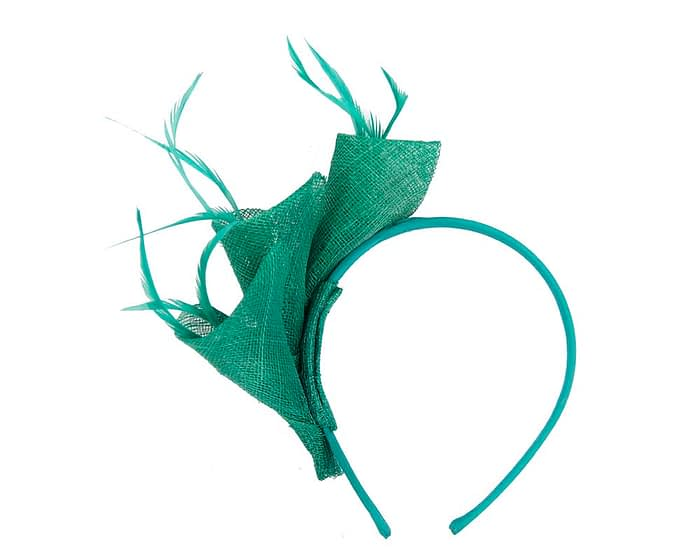 Fascinators Online - Petite green sinamay fascinator with feathers by Max Alexander 4