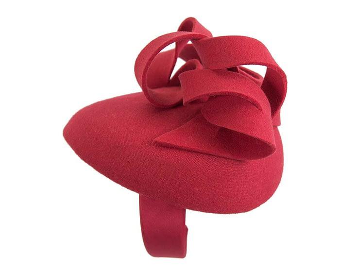 Fascinators Online - Unusual red felt pillbox fascinator by Fillies Collection 3