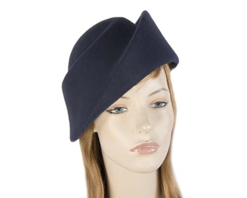 Fascinators Online - Designers navy felt hat 72