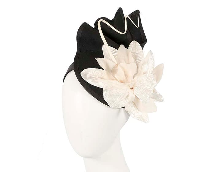 Fascinators Online - Black and Cream winter felt fascinator by Fillies Collection 1