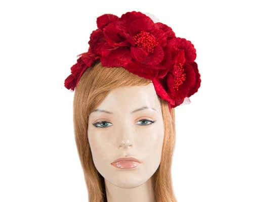 Fascinators Online - Red flowers on the headband 5