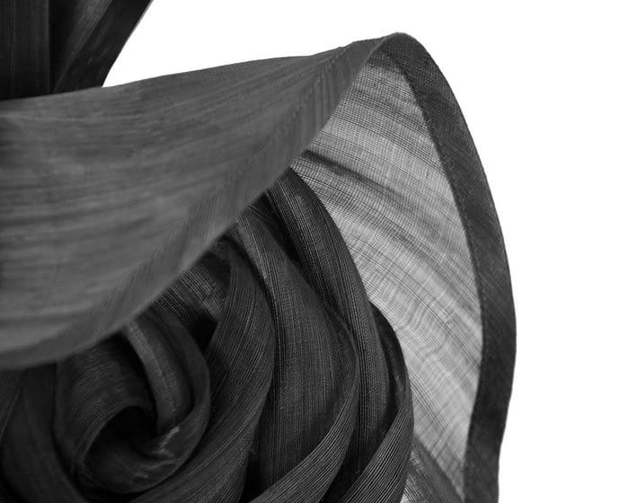 Fascinators Online - Black sculptured silk abaca fascinator by Fillies Collection 4