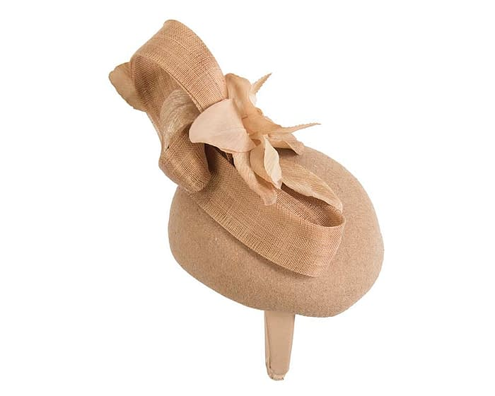 Fascinators Online - Tall beige felt pillbox with flower by Fillies Collection 3