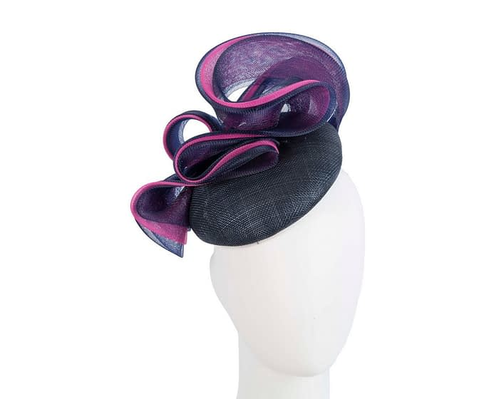 Fascinators Online - Navy & fuchsia pillbox racing fascinator with wave by Fillies Collection 1